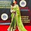 Ayesha Omar traditionally dressed at an event in the United States