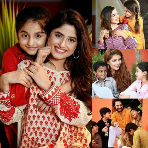 Sajal Aly, Momina Mustahsen and Sonya Hussain with the children of Edhi