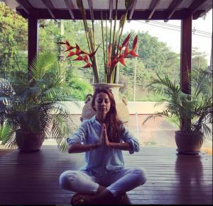 Ainy Jaffri meditating in Thailand