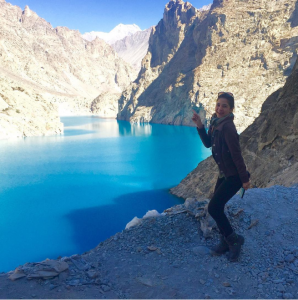 Ayesha Omar striking a pose by Gojal Lake in the stunningly beautiful Hunza Valley
