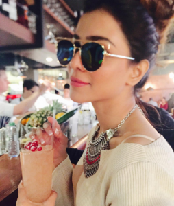 Humaima Malick sipping on a fruity concoction in London town