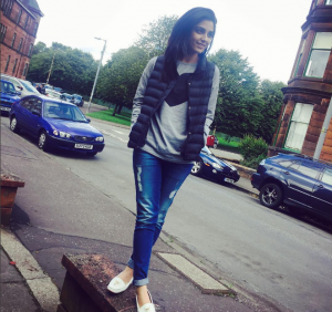 Maya Ali chilling in the chilly Glasgow