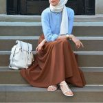 Hijab Look with Flare Skirt Outfit Fashion 2018 (1)