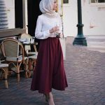 Hijab Look with Flare Skirt Outfit Fashion 2018 (12)