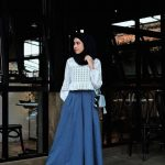 Hijab Look with Flare Skirt Outfit Fashion 2018 (15)