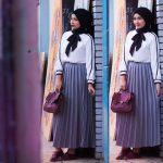 Hijab Look with Flare Skirt Outfit Fashion 2018 (16)