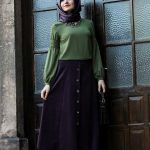 Hijab Look with Flare Skirt Outfit Fashion 2018 (4)