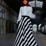 Hijab Look with Flare Skirt Outfit Fashion 2018 (7)