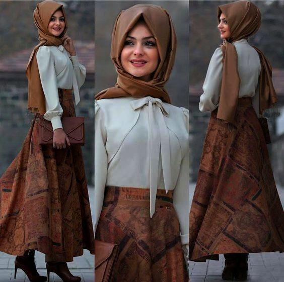 Hijab Look with Flare Skirt Outfit Fashion 2018 (8)