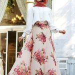 Hijab Look with Flare Skirt Outfit Fashion 2018 (9)
