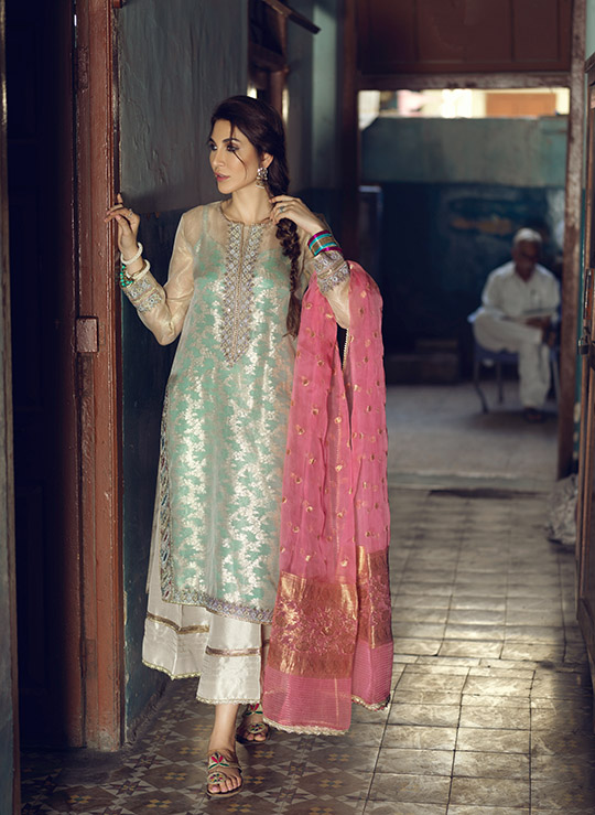Umsha By Uzma Babar Women's Eid Dresses Collection 2019 8