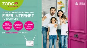 ZONG 4G, Pakistan's No.1 Data Network Becomes First to Launch Fiber Optic Internet