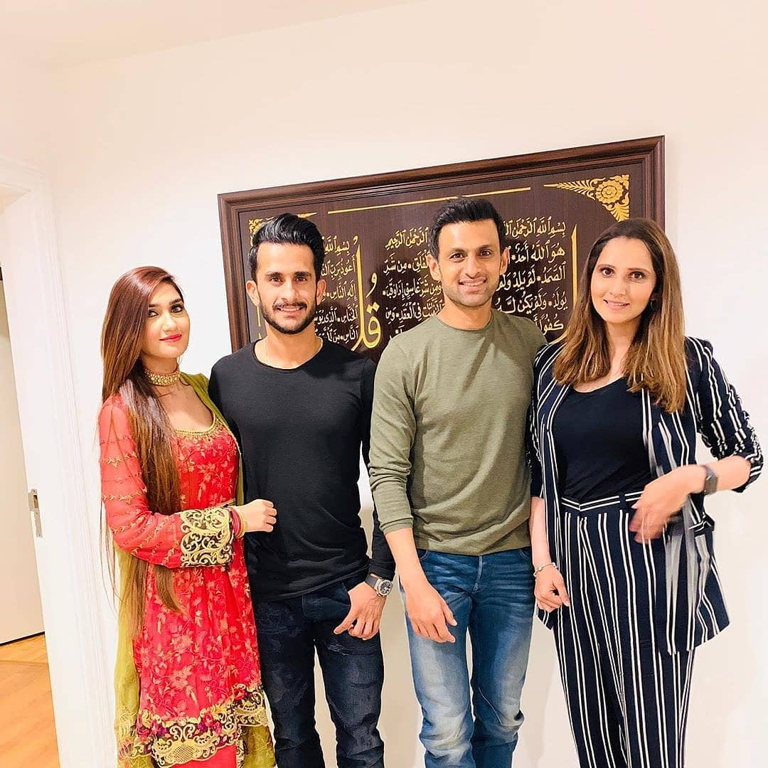 Cricketer Hassan Ali with his Wife at Shoaib Malik and Sania Mirza House in Dubai (1)