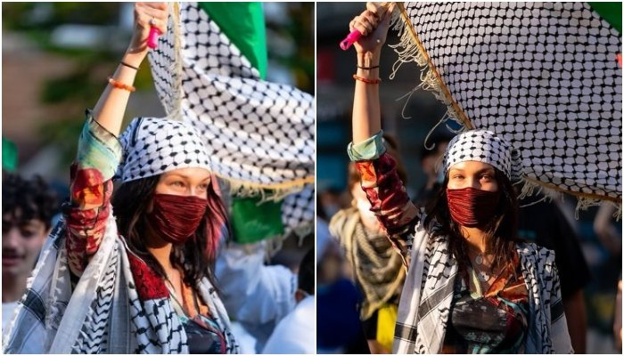 Model Bella Hadid marches for Palestine 'From the river to the sea, Palestine will be free'