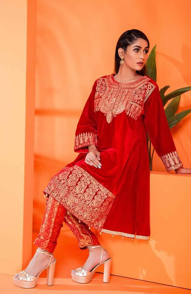 Velvet Embroidered Winter Wear Collection 2019-20 By Al-Zohaib (13)