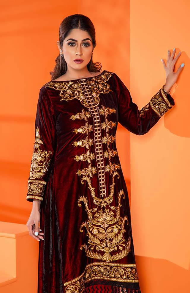 Velvet Embroidered Winter Wear Collection 2019-20 By Al-Zohaib (15)