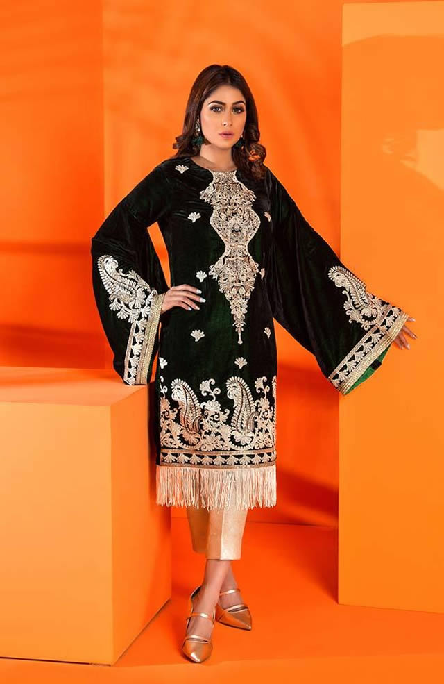 Velvet Embroidered Winter Wear Collection 2019-20 By Al-Zohaib (4)