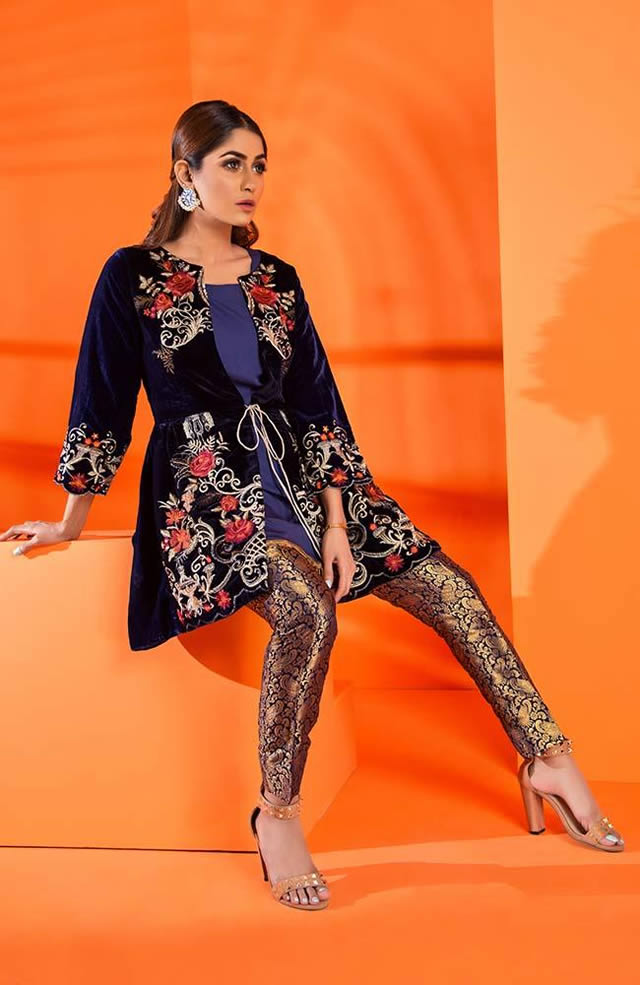 Velvet Embroidered Winter Wear Collection 2019-20 By Al-Zohaib (7)