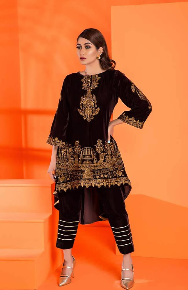 Velvet Embroidered Winter Wear Collection 2019-20 By Al-Zohaib (8)