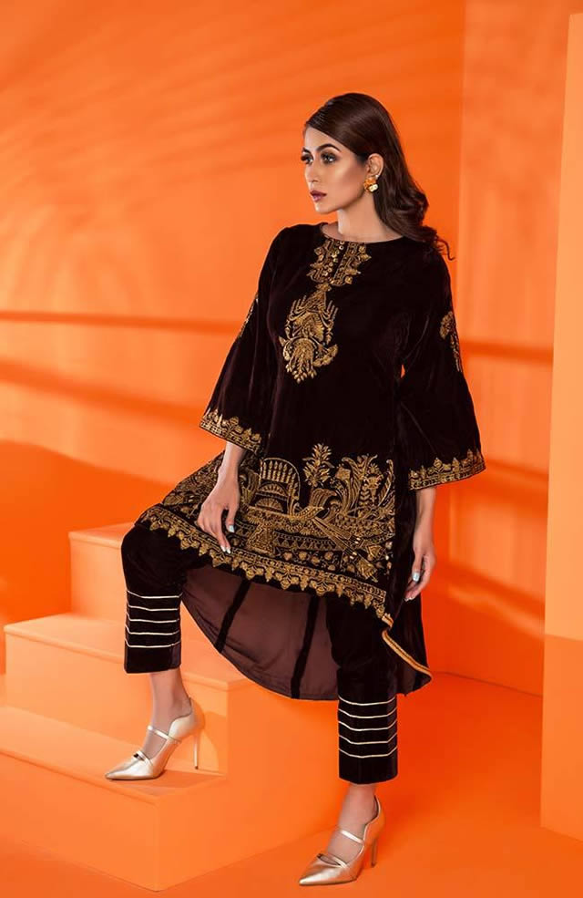 Velvet Embroidered Winter Wear Collection 2019-20 By Al-Zohaib (9)